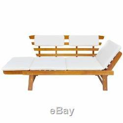 VidaXL Solid Wood Garden Bench Day Sofa Bed with Cushions Outdoor Patio Garden