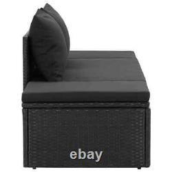 VidaXL Sun Bed with Cushions Poly Rattan Black Patio Chaise Lounge Garden Sofa