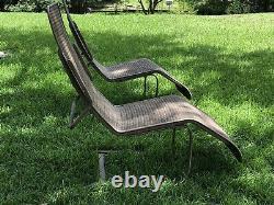Vintage Lloyd Loom Flanders Wicker Outdoor Patio / Pool Side Bouncy Chair Set