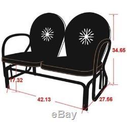 Vintage Metal Porch Glider Retro Lawn Chair Yard Patio Furniture Garden Loveseat