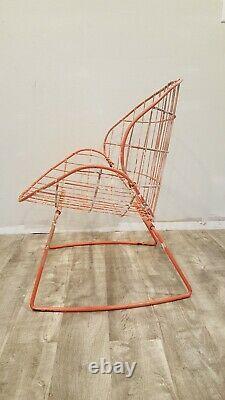 Vintage Mid Century Modern Metal Clam Shell Chair Salterini Style Patio