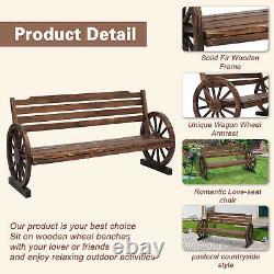 Wagon Wheel Bench Patio Loveseat Chair Outdoor Furniture Garden Yard Decorative