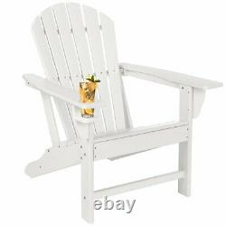 White Adirondack Chair with Cup Holder Outdoor Patio Furniture Weather Resistant