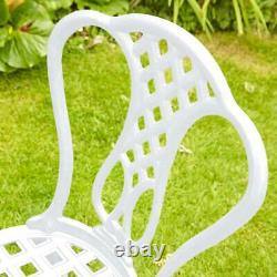 White Bistro Set Outdoor Patio Garden Furniture Table and 2 Chairs Metal Frame