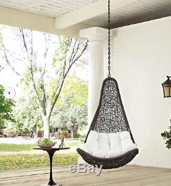 Wicker Hanging Swing Outdoor Patio Chair Cushion Seat Garden Yard Furniture