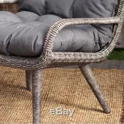 Wicker Patio Set 3 Piece Outdoor Garden Furniture Chairs Table Cushion Pool Deck