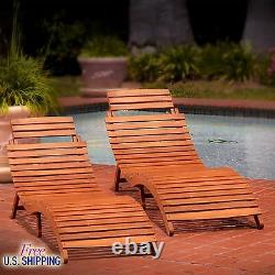 Wood Chaise Lounge Set of 2 Outdoor Furniture Patio Chair Pool Folding Lounger