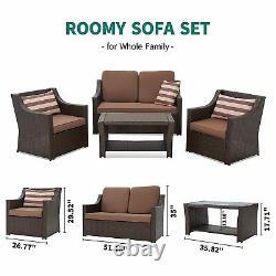 YITAHOME 4PCS Outdoor Furniture Conversation Set Garden Patio Wicker Rattan Sofa