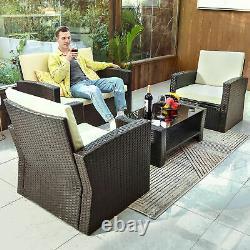 YITAHOME 4PCS Outdoor Patio Furniture Set Sectional Sofa Rattan Chair Wicker Set