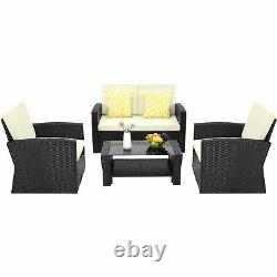 YITAHOME 4 Pieces Outdoor Sectional Set Rattan Sofa Wicker Chair Patio Furniture