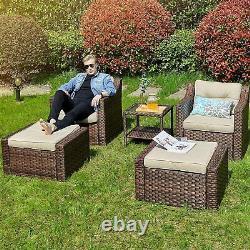 YITAHOME 5PCS Patio Wicker Furniture Outdoor Rattan Sofa Table Conversation Set