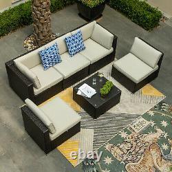 YITAHOME 6PCS Outdoor Patio Furniture Sectional Set Rattan Wicker Sofa Cushions