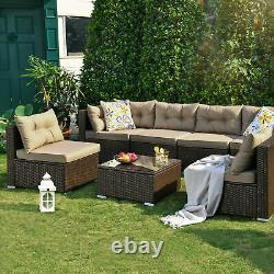 YITAHOME 7PCS Outdoor Patio Sectional Furniture PE Wicker Rattan Sofa Set Couch