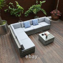 YITAHOME 7PCS Patio Sofa Set Rattan Wicker Cushion Outdoor Table Furniture Gard