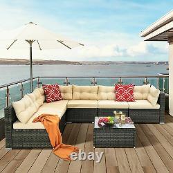 YITAHOME 7PCS Patio Wicker Furniture Outdoor Rattan Sofa Garden Conversation Set