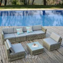 YITAHOME 7pcs Outdoor Patio Sofa Set PE Rattan Wicker Sectional Furniture Couch